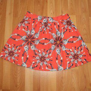 Crown&Ivy Orange Giraffe Print Flare Pleated Skirt